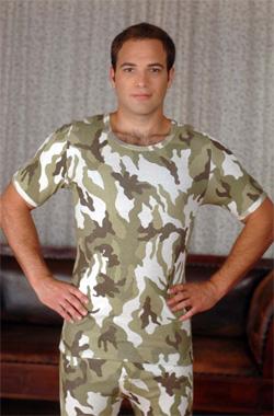 Согревающая футболка из ангоры и хлопка мужская с коротким рукавом Камуфляж
