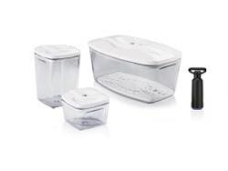 Набор пищевых вакуумных контейнеров Set3extra 2,7л + 1,3 л + 0,5л + насос