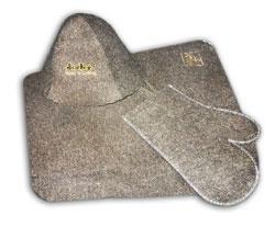 Набор для бани и сауны (шапочка, коврик, варежка)
