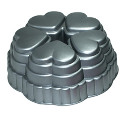 Металлическая форма для выпечки 6 ячеек-сердечек