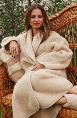 Домашний халат из верблюжьей шерсти Кофе с молоком
