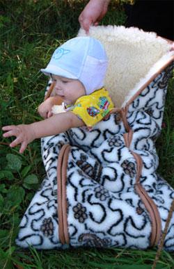 Зимний детский конверт в коляску Черепашки Нежность