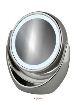 Женское зеркальцо для ухода за лицом с подсветкой 2649 хром
