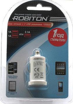 Автомобильный блок питания ROBITON TwinUSB1000/AUTO 1000мА с 2 usb-разъемами