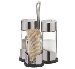 Набор соль, перец и зубочистки CLUB с подставкой