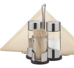 Набор соль, перец, зубочистки и салфетки CLUB с подставкой