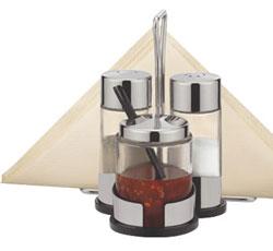 Набор соль, перец, салса и салфетки CLUB с подставкой