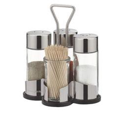 Набор соль, перец, паприка и зубочистки CLUB с подставкой