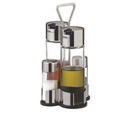 Набор  масло, уксус, соль и перец CLUB  с подставкой