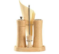 Мельничка для перца, солонка, зубочистки и салфеткодержатель ELEGANCE, с подставкой